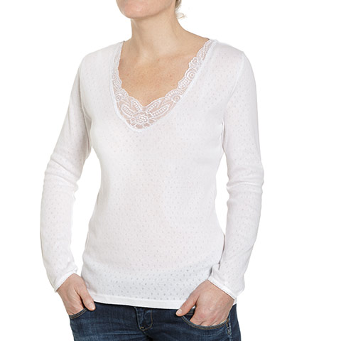 T-shirt femme V manches longues - S - BE4729